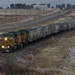 Eastbound grain train at Mesa, Limon Subdivision