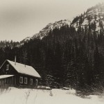 Saints John, cabin, black and white, sepia, antique photo