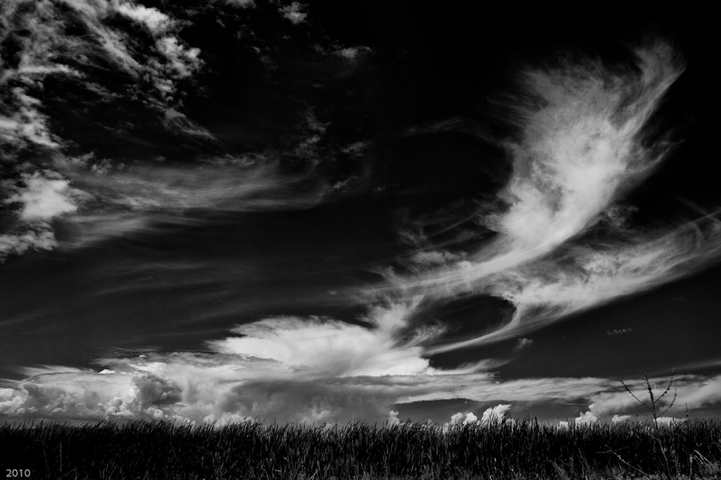 Clouds, sky, black and white