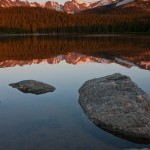 Sunrise greeting the Indian Peaks, from Brainard Lake