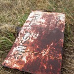 """A rusty old sign that reads """"Property of D&RGWRR  No Trespassing"""""""