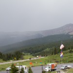 Vail Pass rest area looking east at the summer rain storm.