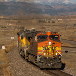 BNSF passes Burns Junmction in Broomfield, Mount Meeker in the background.